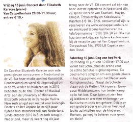 Dutch newspaper article - announcing concerts Summer 2013